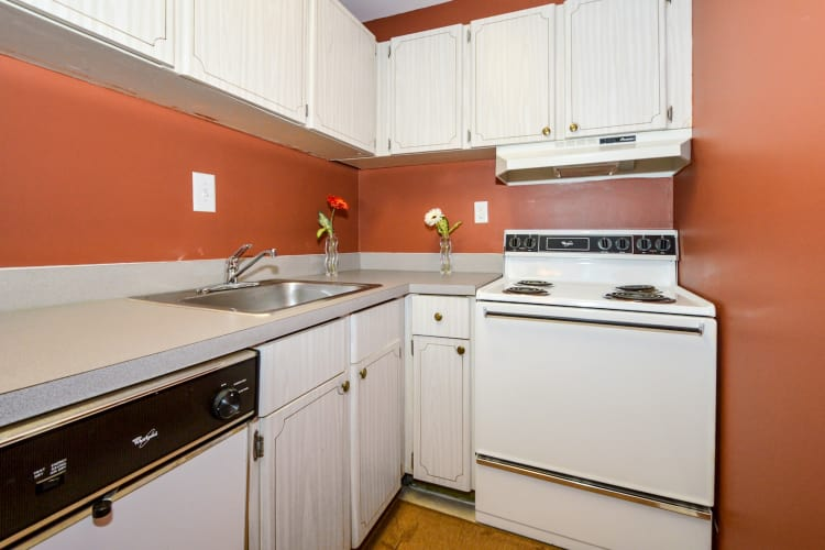Modern kitchen at Main Street Apartment Homes