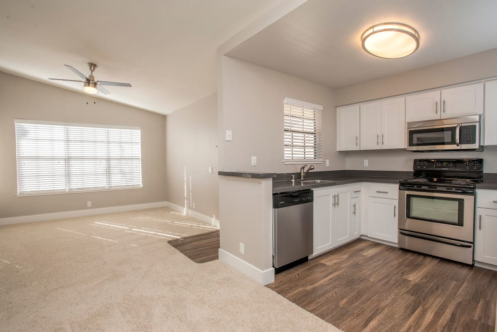 Gorgueous hardwood floors in Kitchen at Slate Creek Apartments in Roseville, California