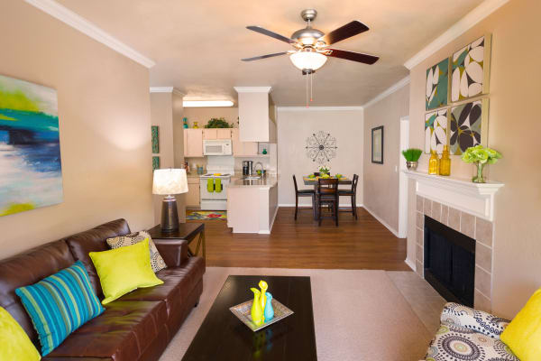 Luxury living room at Ballantyne Apartments in Lewisville, Texas