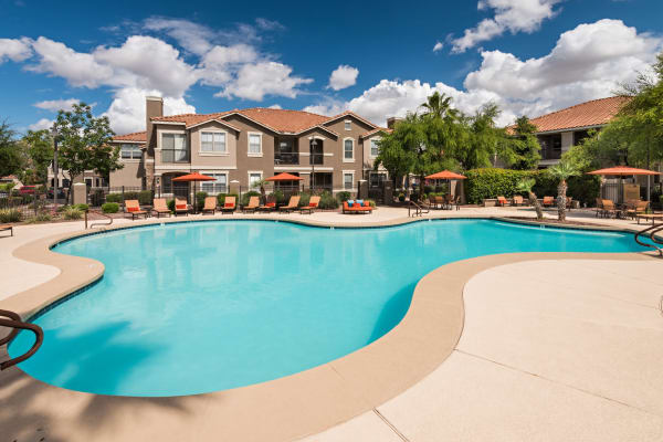 Exterior view of swimming pool at Villas on Hampton Avenue in Mesa, Arizona