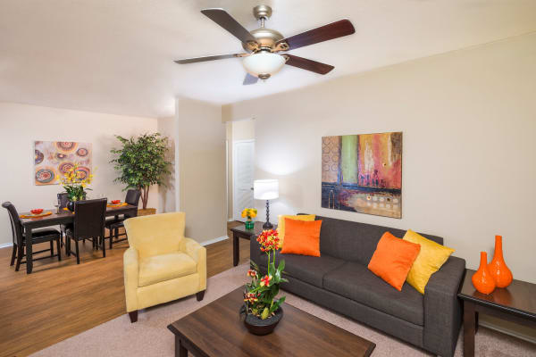 Stoneybrook Apartments & Townhomes offers a luxury living room in San Antonio, Texas