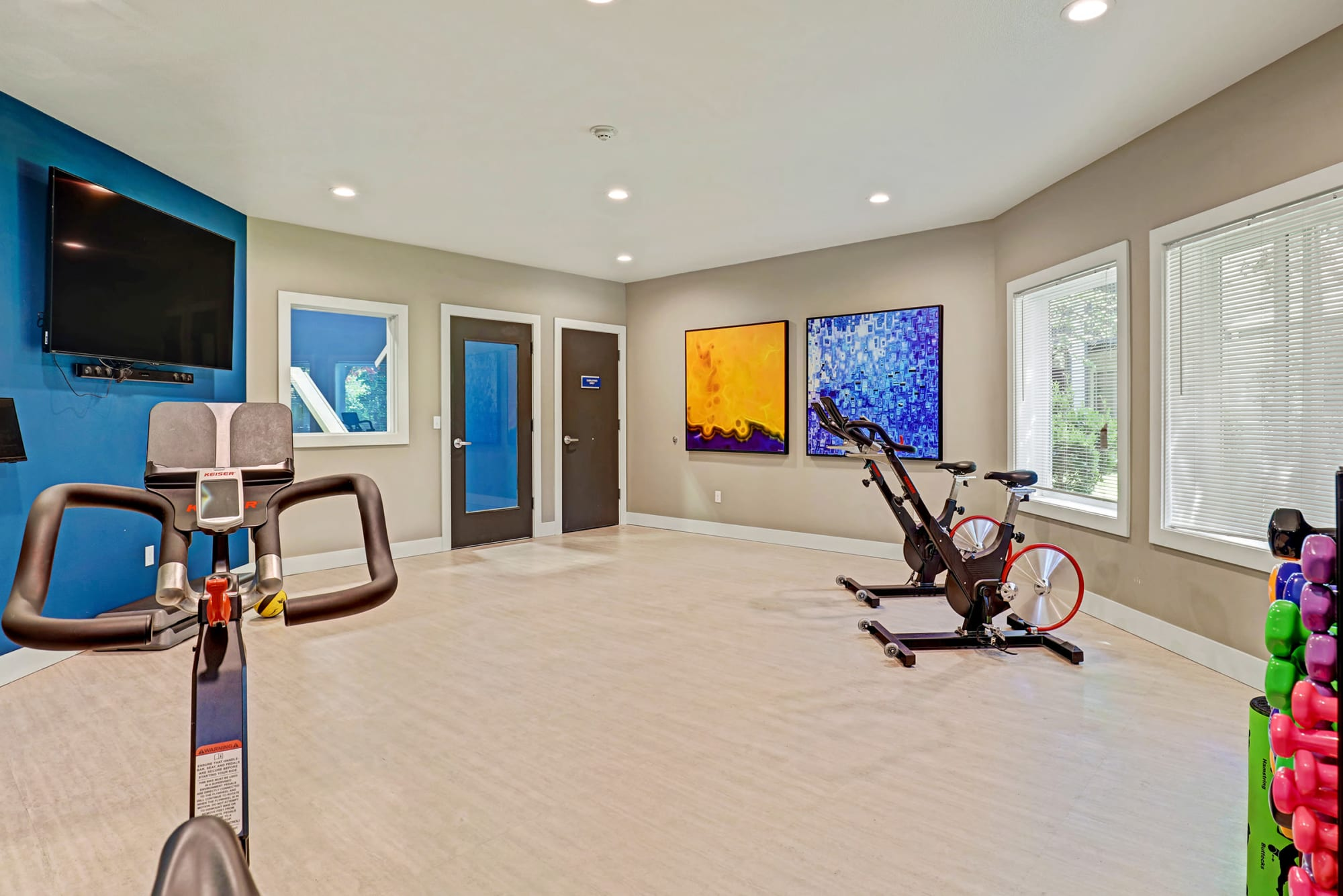 Fitness on demand room at Cascade Ridge in Silverdale, Washington