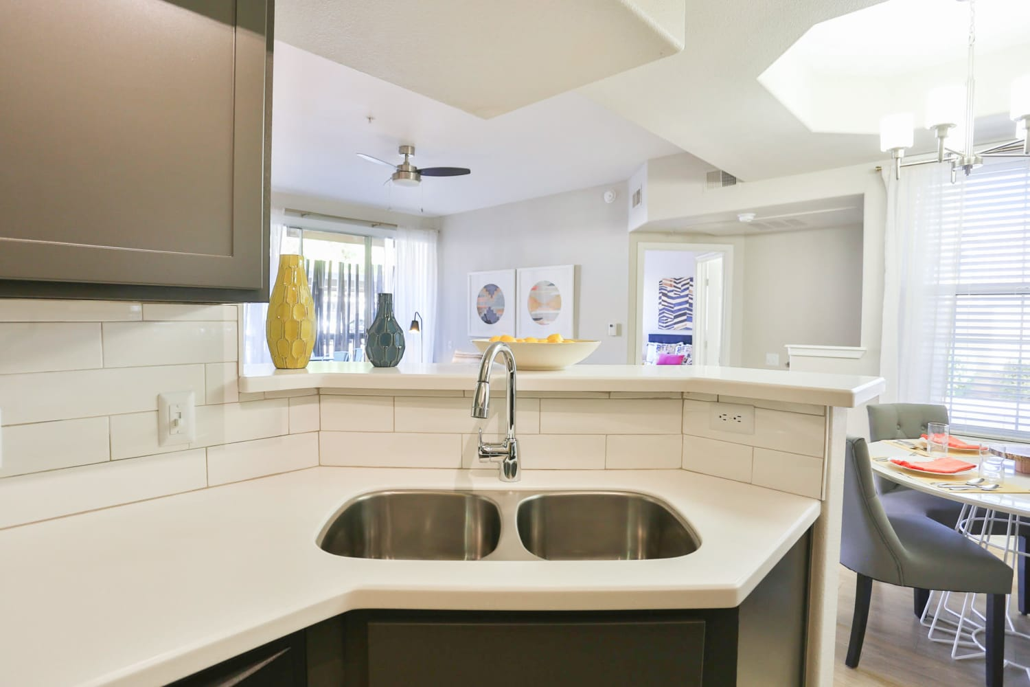 There is ample counter space in the kitchens at Sonoran Vista Apartments in Scottsdale, Arizona