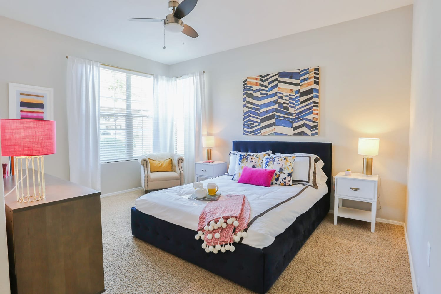 Ceiling fans are offered in the bedrooms at Sonoran Vista Apartments in Scottsdale, Arizona