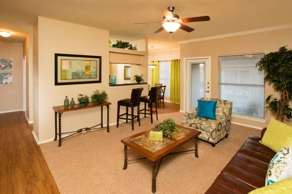 Living room layout at El Lago Apartments