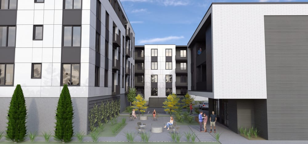 Rendering of the courtyard at Marquam Heights in Portland, Oregon