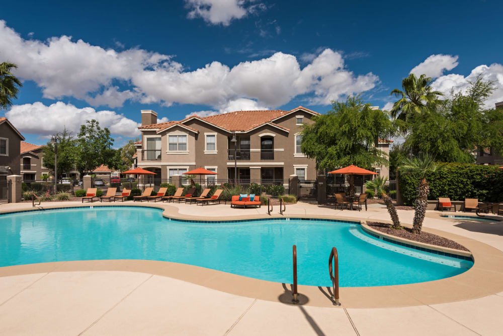 Luxury swimming pool at apartments at Villas on Hampton Avenue in Mesa, Arizona