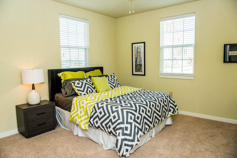Bright bedroom at Traditions at Westmoore in Oklahoma City, Oklahoma.