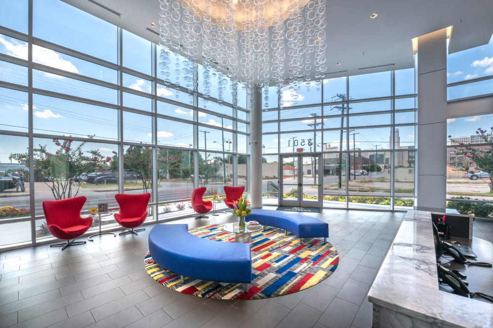 Modern architecture and decor in the resident clubhouse at Olympus at Ross in Dallas, Texas