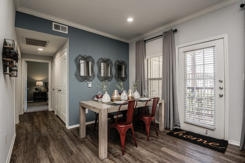 Breakfast nook on hardwood floors in model unit at Ranch ThreeOFive in Arlington, Texas
