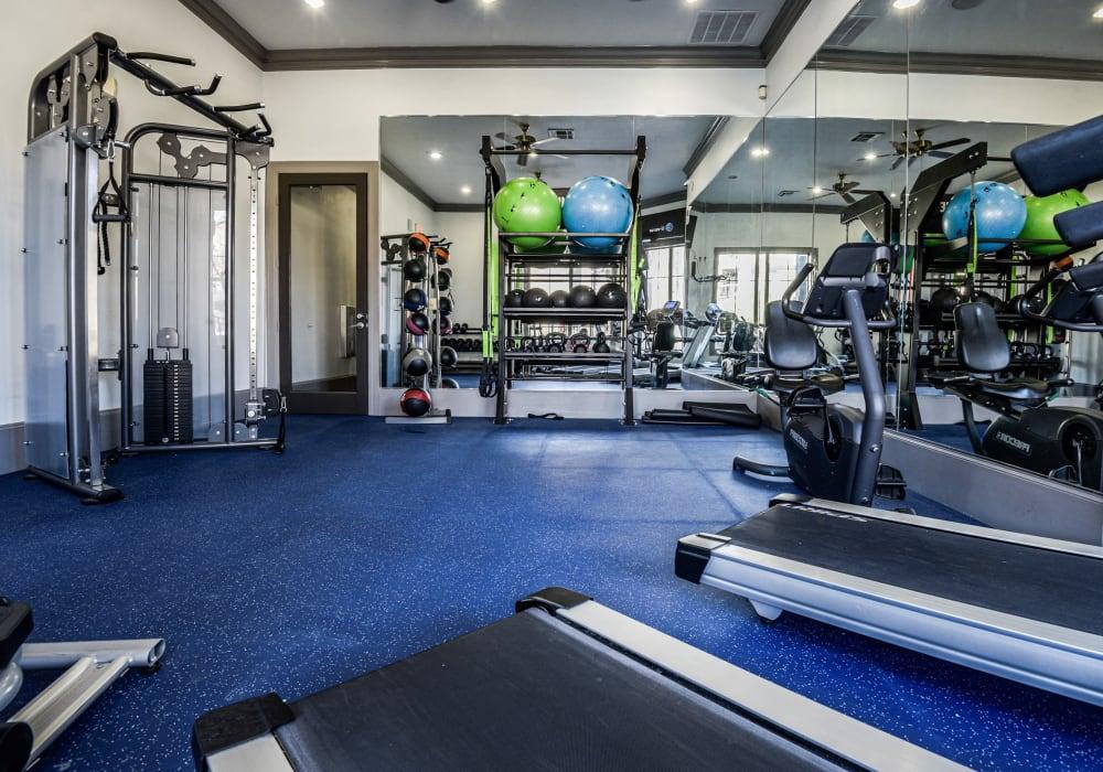 Large fitness center at Ranch ThreeOFive in Arlington, Texas