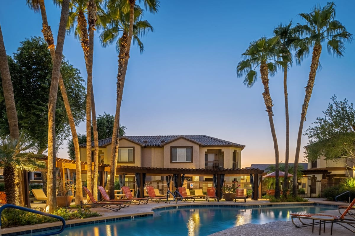 Exterior view of clubhouse at Cave Creek, Arizona from Azure Creek