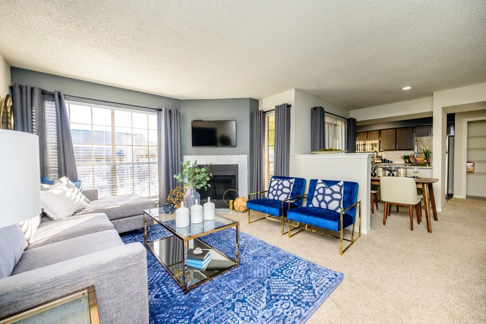 Luxury living room at Laurel Heights at Cityview in Fort Worth, Texas