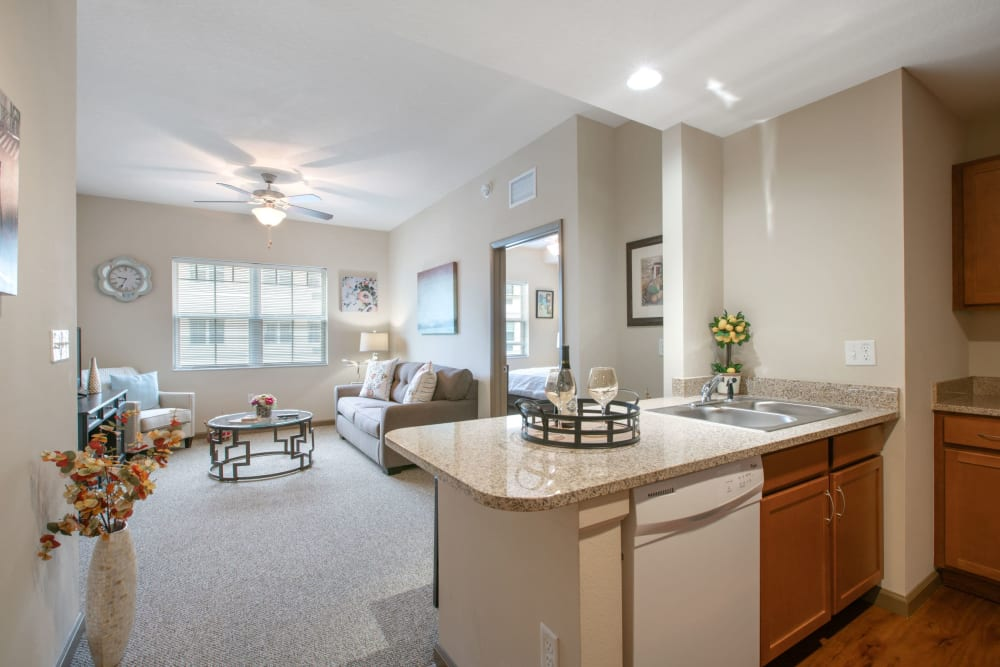 Large resident apartment at Merrill Gardens at Solivita Marketplace in Kissimmee, Florida.