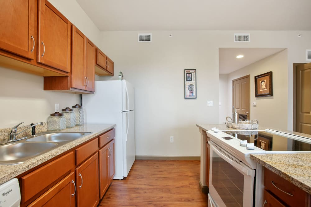 Resident kitchenette at Merrill Gardens at Solivita Marketplace in Kissimmee, Florida.