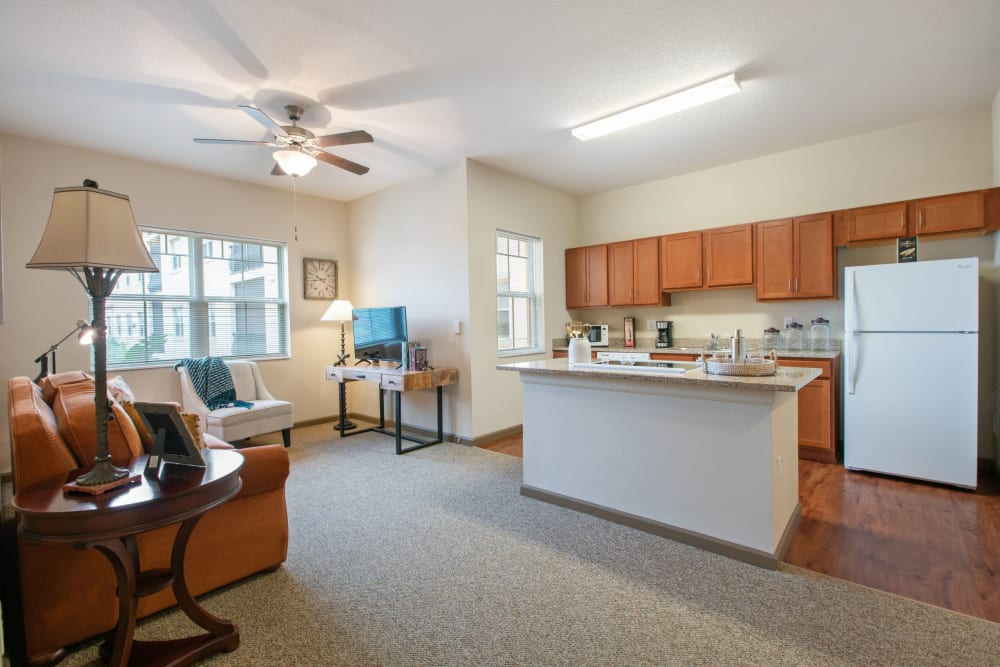 Spacious apartment at Merrill Gardens at Solivita Marketplace in Kissimmee, Florida.