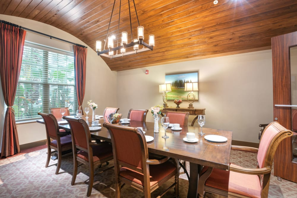 Private dining room at Merrill Gardens at Solivita Marketplace in Kissimmee, Florida.
