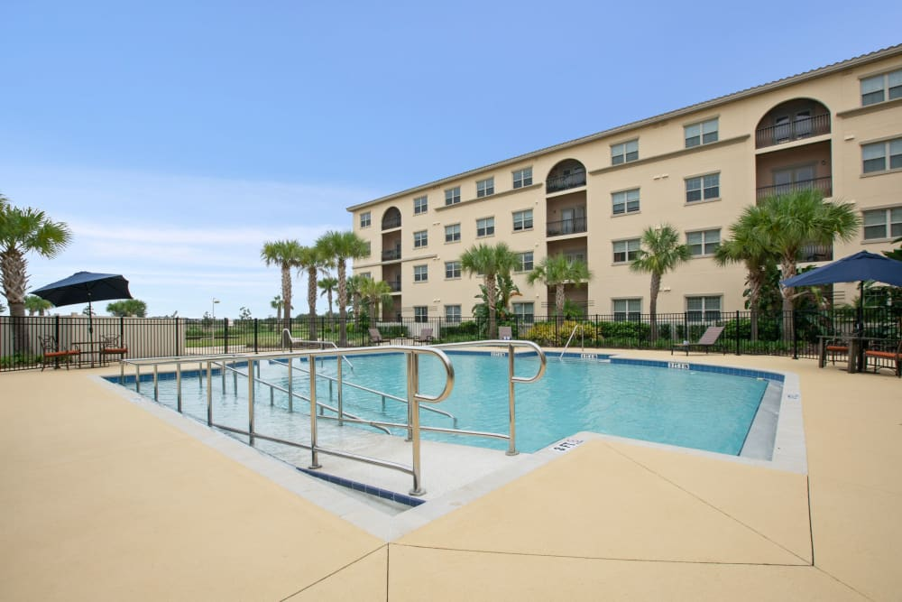 Resident pool at Merrill Gardens at Solivita Marketplace in Kissimmee, Florida.