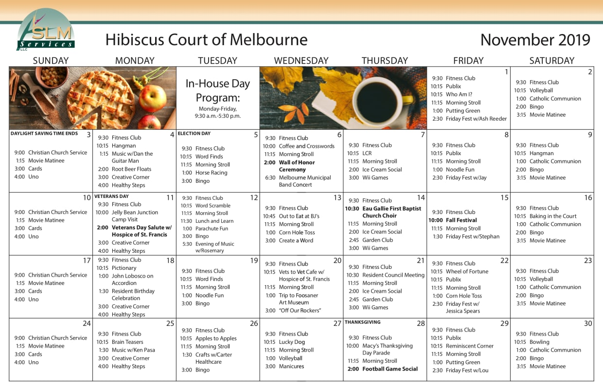 View our monthly calendar of events at Hibiscus Court