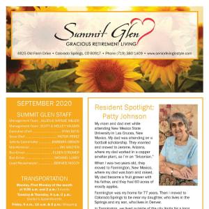 September newsletter at Summit Glen in Colorado Springs, Colorado