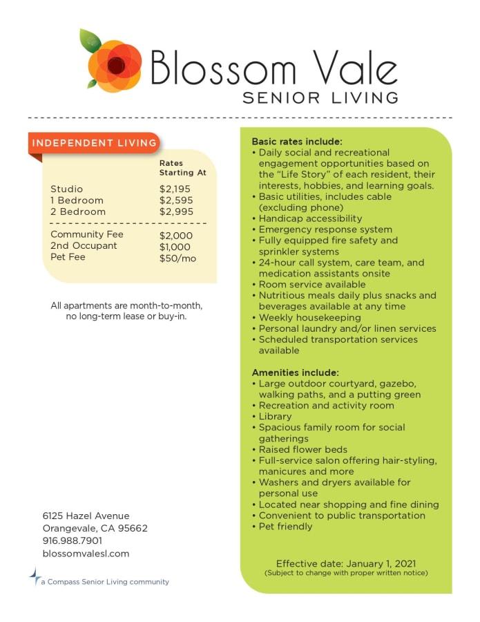 Blossom Vale Senior Living rates