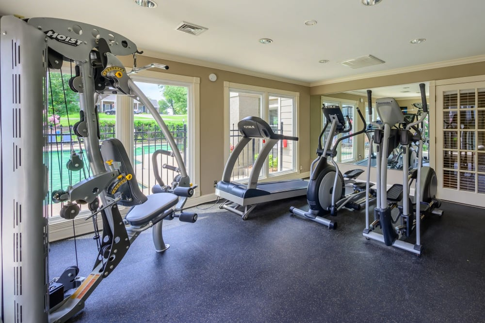 Fitness center with individual workout stations at The Hamilton in Hendersonville, Tennessee