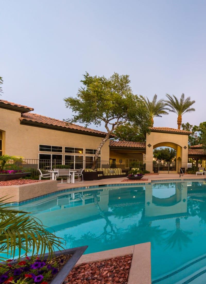 Pool at dusk at Marquis at Arrowhead in Peoria, Arizona