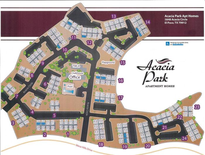 Site map for Acacia Park Apartments in El Paso, Texas
