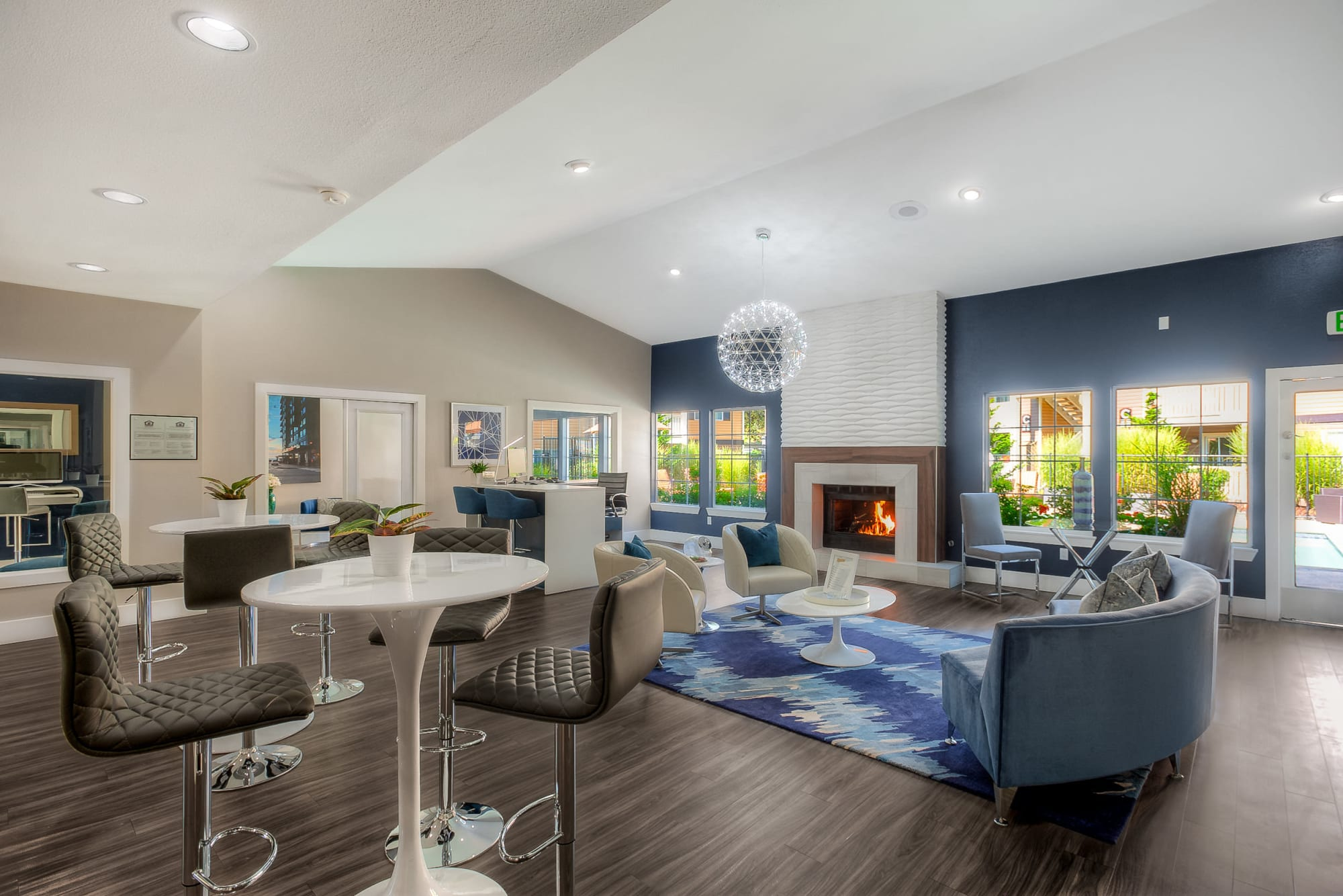 newly renovated leasing office and clubhouse lounge at Newport Crossing Apartments