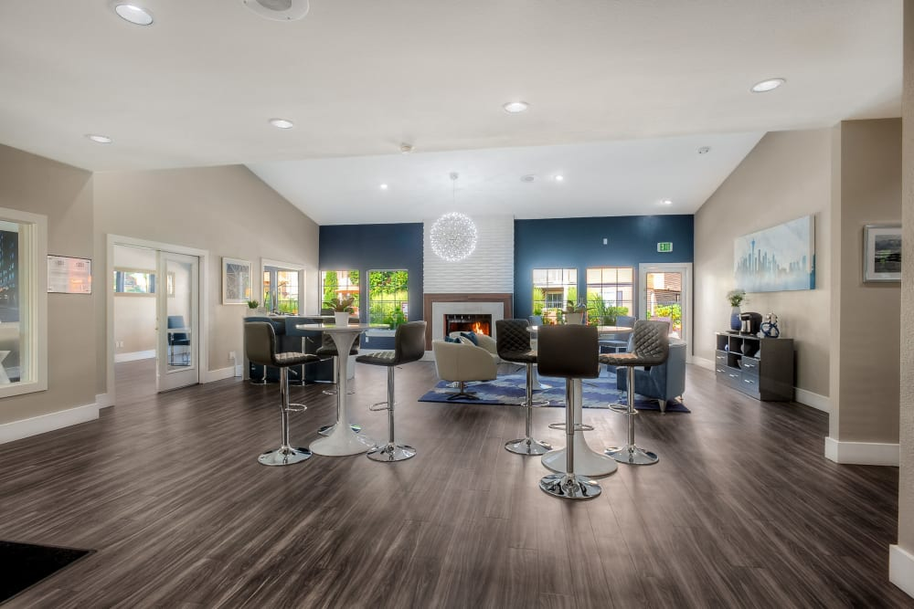 Community lounge area at Newport Crossing Apartments in Newcastle, Washington