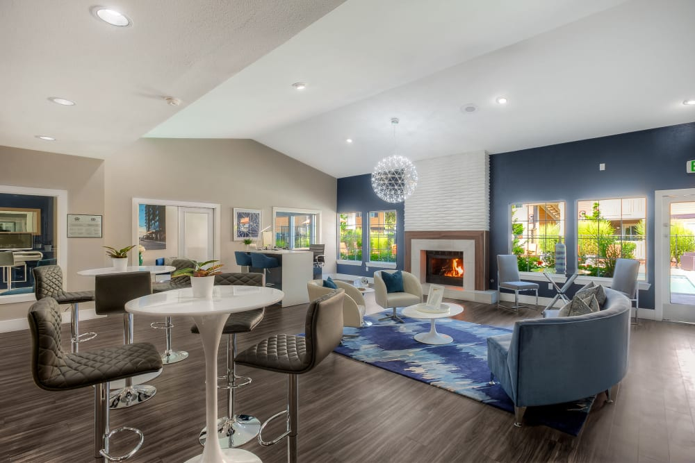 Recently renovated clubhouse lounge at Newport Crossing Apartments in Newcastle, Washington