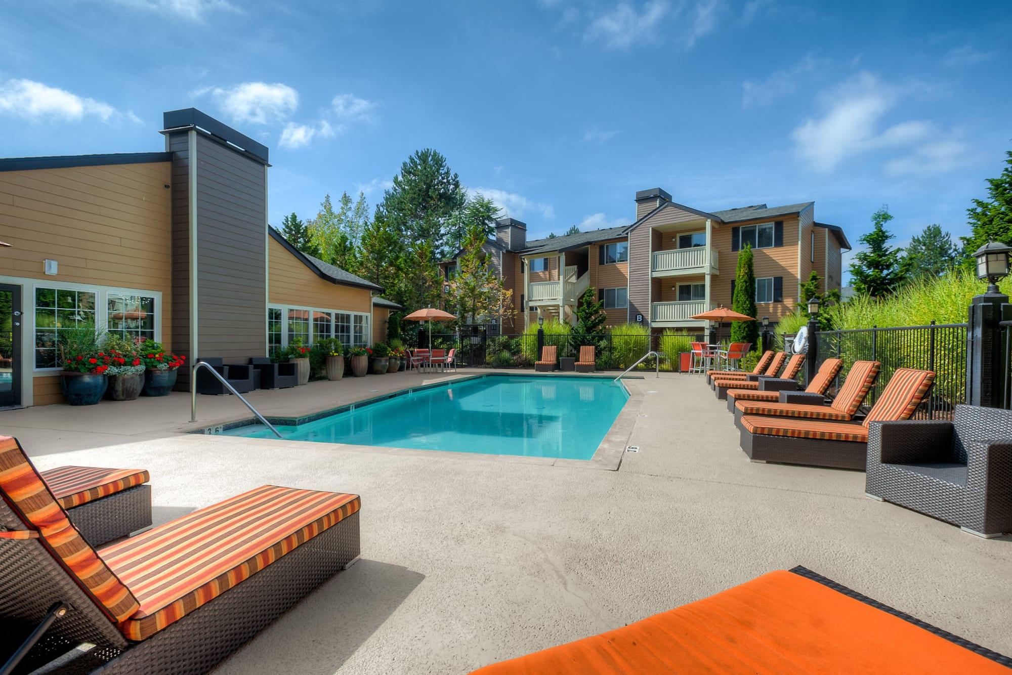 Pool deck at Newport Crossing Apartments