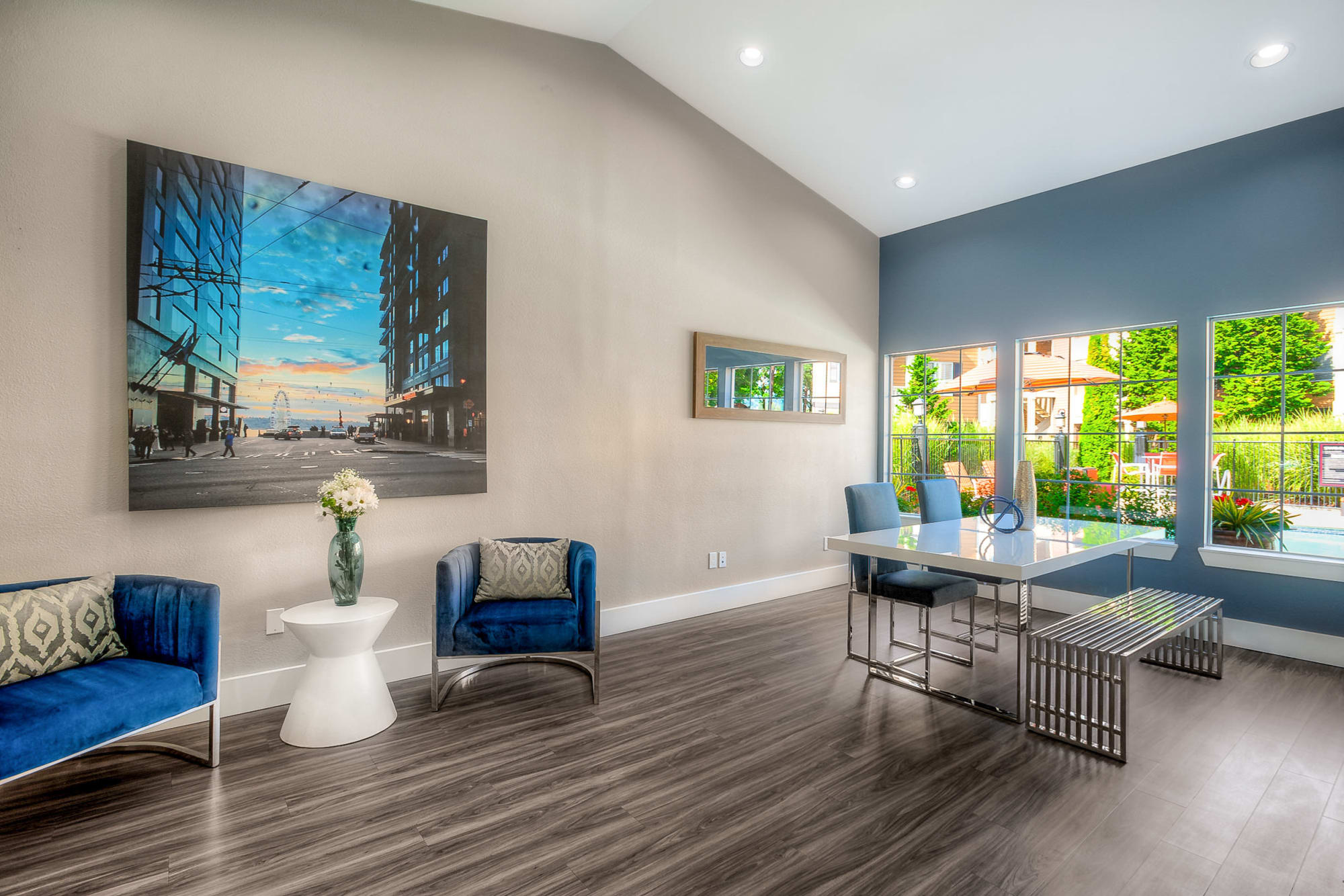newly renovated clubhouse lounge at Newport Crossing Apartments