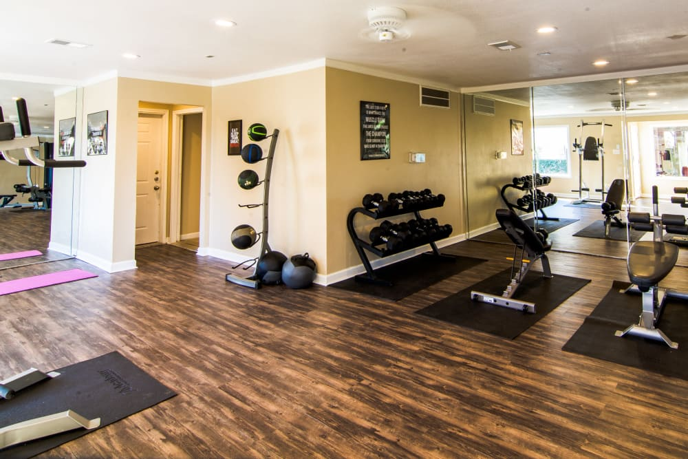 Fully equipped fitness center at Reserve on Garth Rd