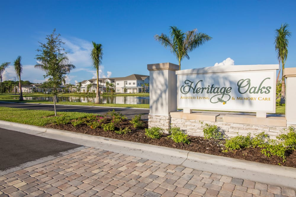 Signage at Heritage Oaks Assisted Living and Memory Care
