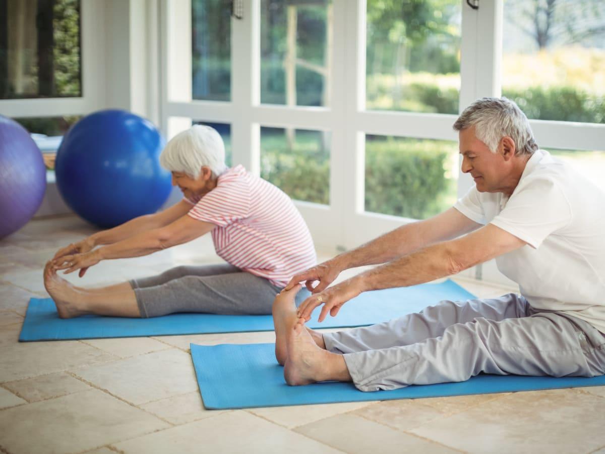 Residents doing yoga at Ativo Senior Living of Albuquerque in Albuquerque, New Mexico