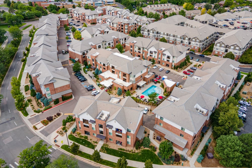 Aerial view of apartment buildings at The Parc at Greenwood Village in Greenwood Village, Colorado