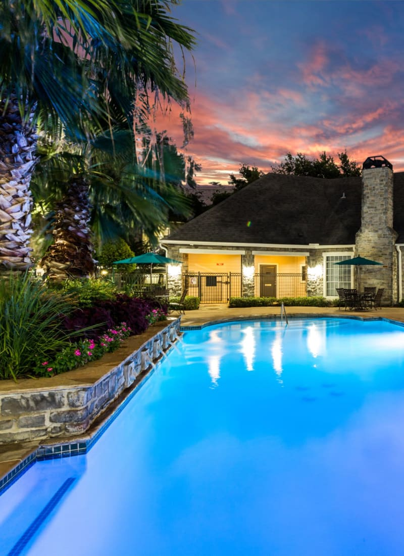 Pool at sunset at Marquis on Westheimer in Houston, Texas