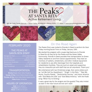 February The Peaks at Santa Rita newsletter