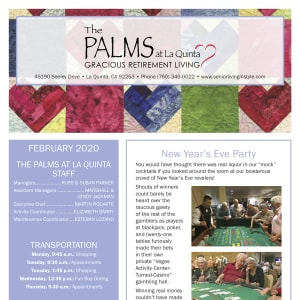 February The Palms at LaQuinta Gracious Retirement Living newsletter