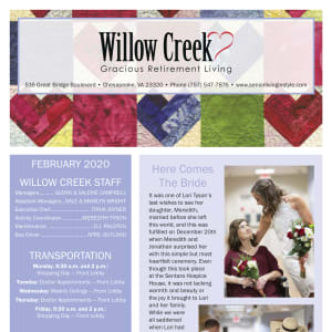 February Willow Creek Gracious Retirement Living newsletter