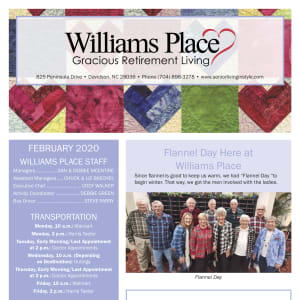 February Williams Place Gracious Retirement Living newsletter