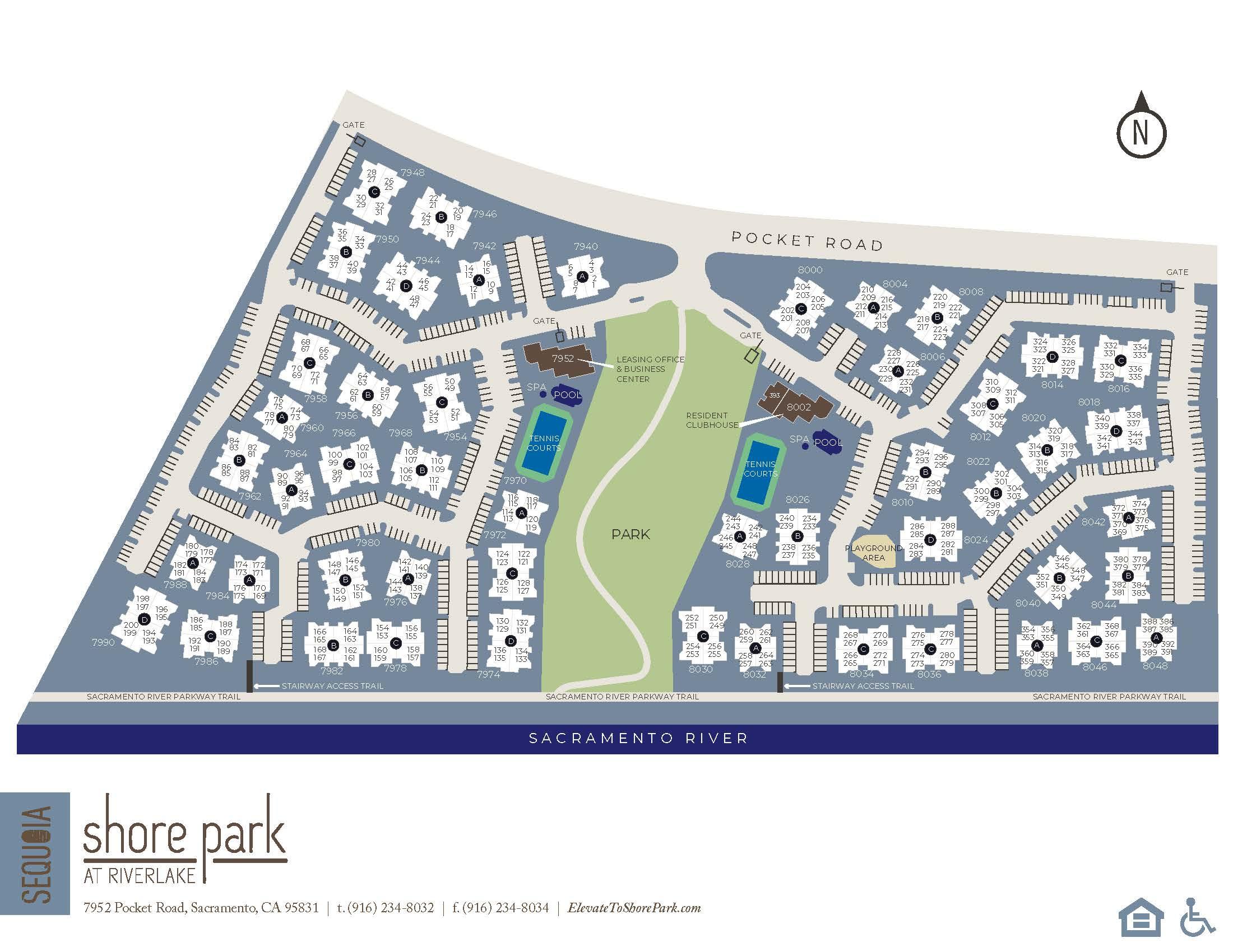 Community site map for Shore Park at Riverlake in Sacramento, California