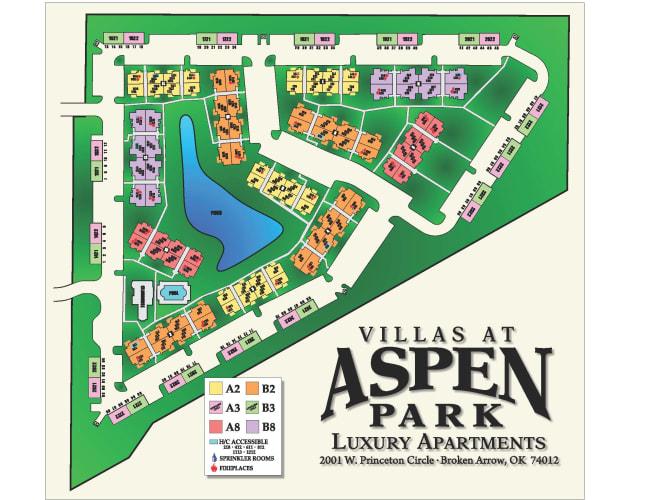 Site map for Villas at Aspen Park in Broken Arrow, Oklahoma