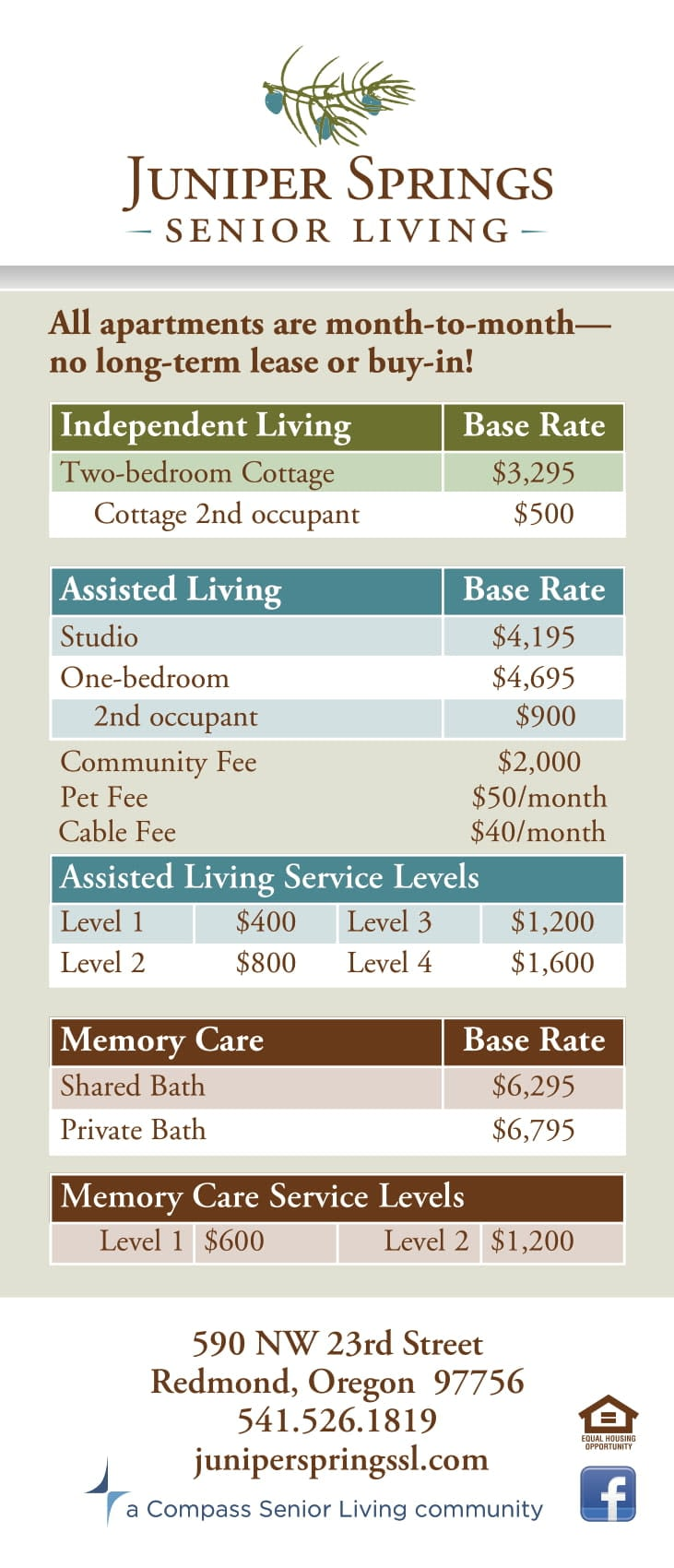Juniper Springs Senior Living rates