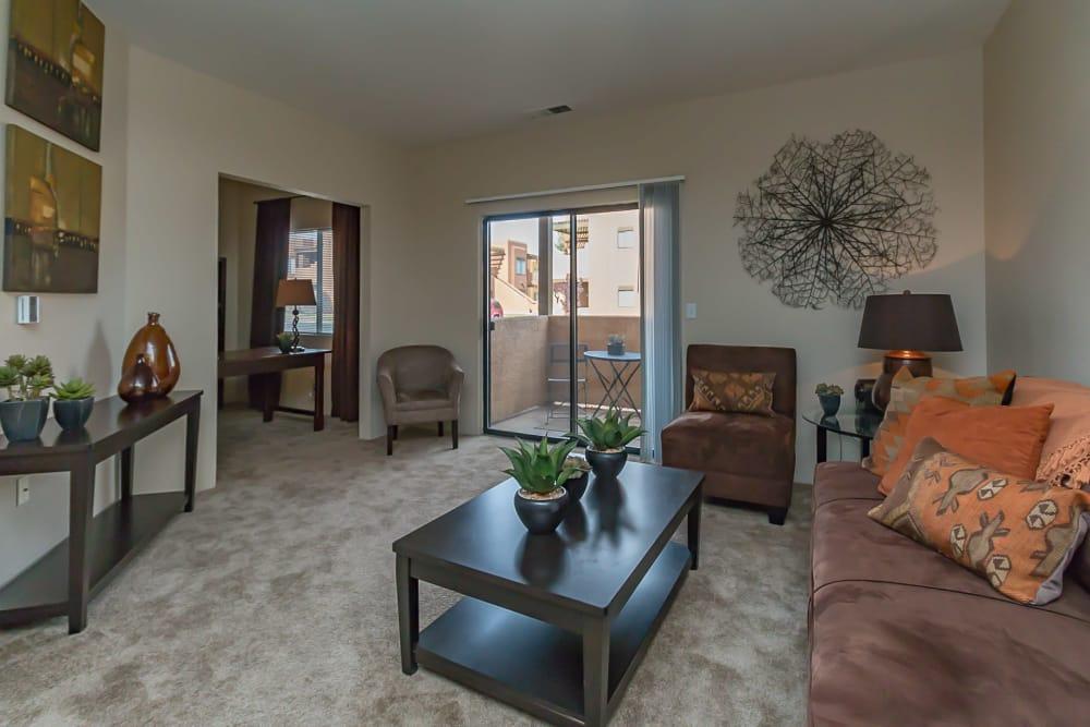 Model living room at San Miguel del Bosque in Albuquerque, New Mexico