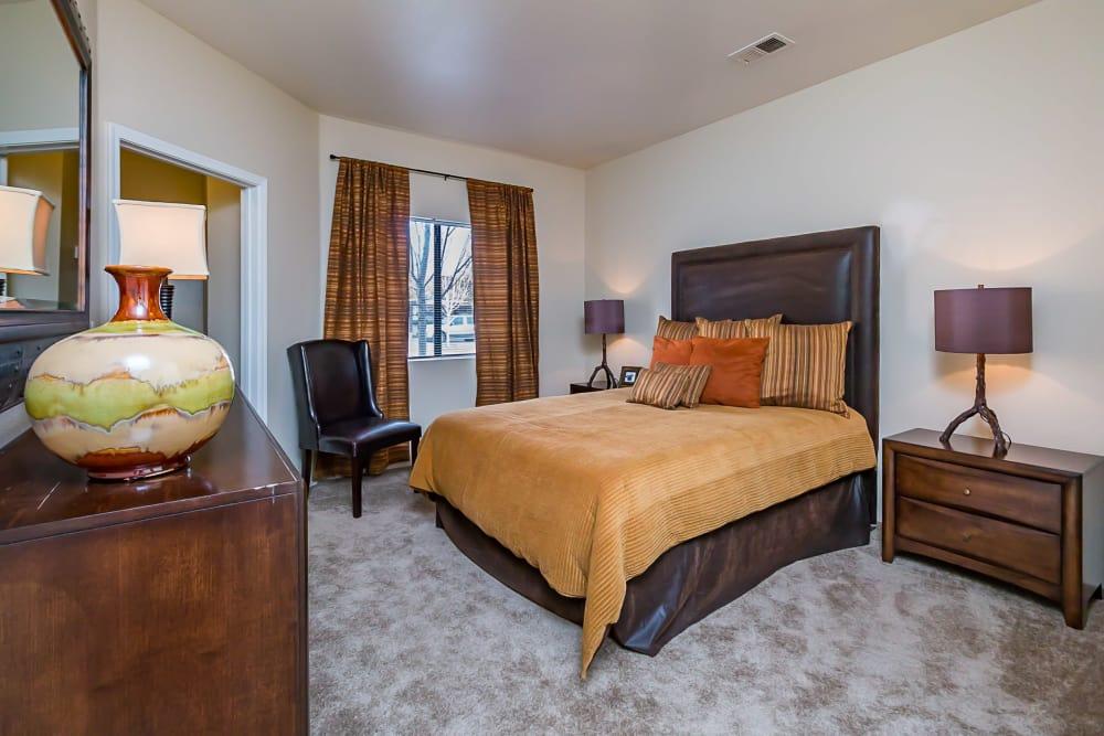 Model bedroom at San Miguel del Bosque in Albuquerque, New Mexico