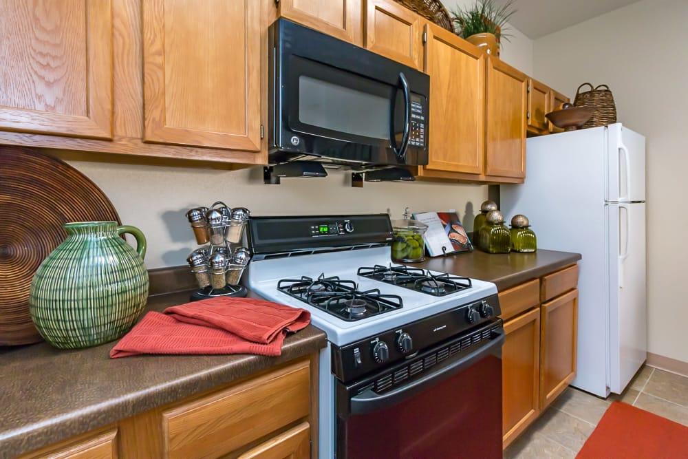 Kitchen appliances at San Miguel del Bosque in Albuquerque, New Mexico