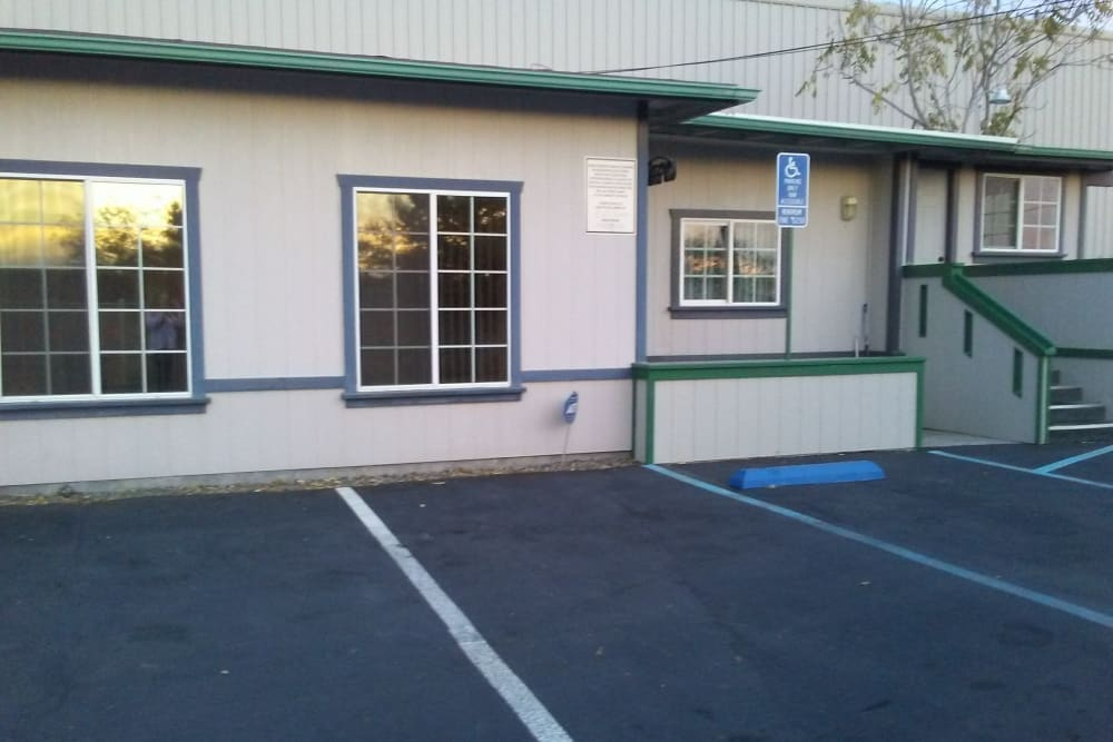 Shop exterior and parking lot in Calimesa, California