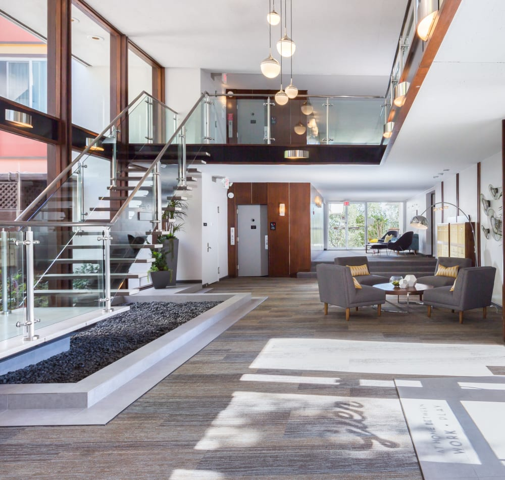 Retro-modern decor in the lobby at Sofi Belmont Glen in Belmont, California